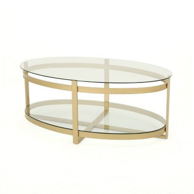 Plumeria Modern Iron with Tempered Glass Coffee Table Brass - Christopher Knight Home