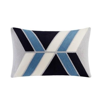 "12""x20"" Oversize Aero Embroidered Abstract Lumbar Throw Pillow Blue"