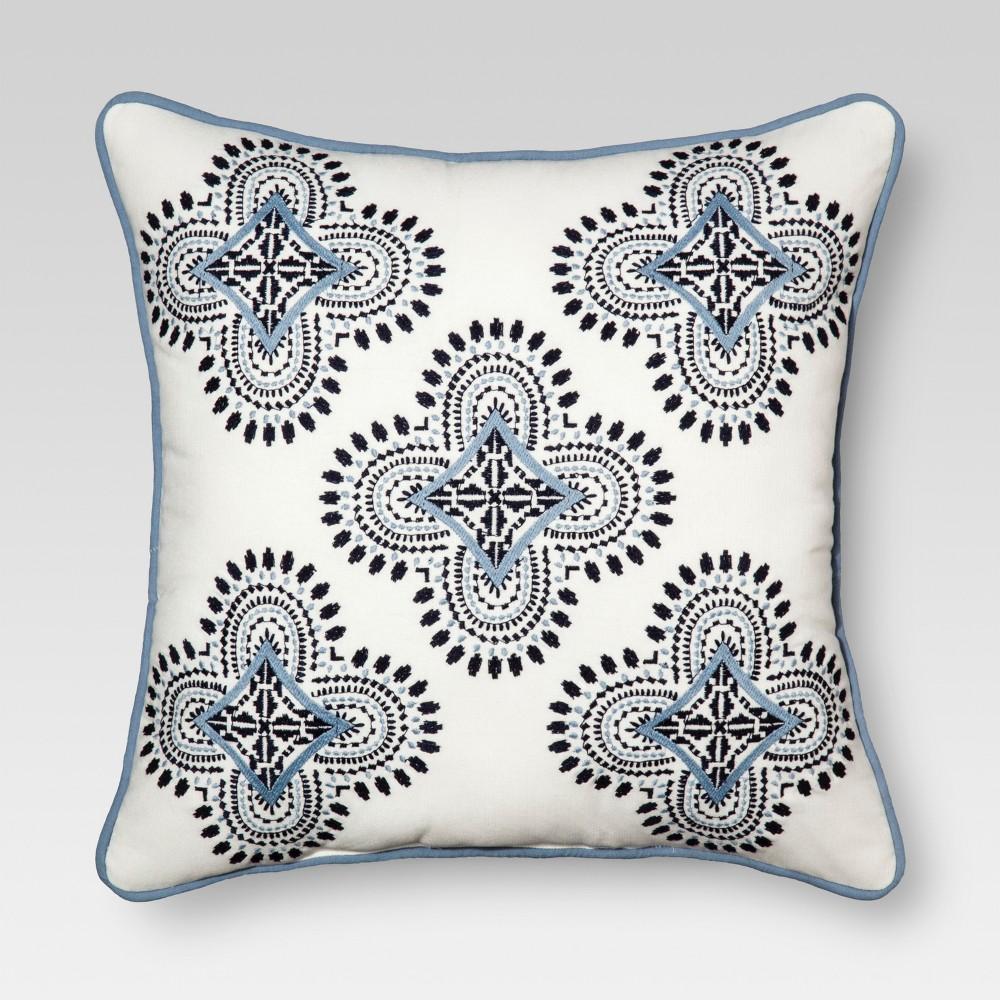Blue Medallion Square Throw Pillow (18