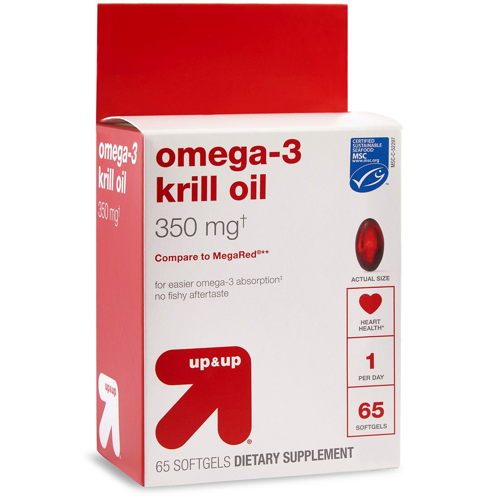 Omega-3 Krill Oil Dietary Supplement Softgels - 65ct - Up&Up (Compare to MegaRed)