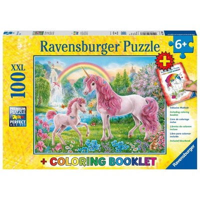 Ravensburger Magical Unicorns Puzzle and Coloring Book 100pc