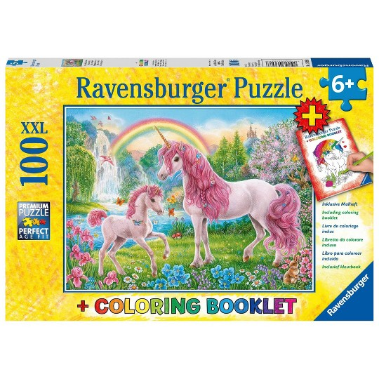 Ravensburger Magical Unicorns Puzzle and Coloring Book 100pc, Kids Unisex image number null