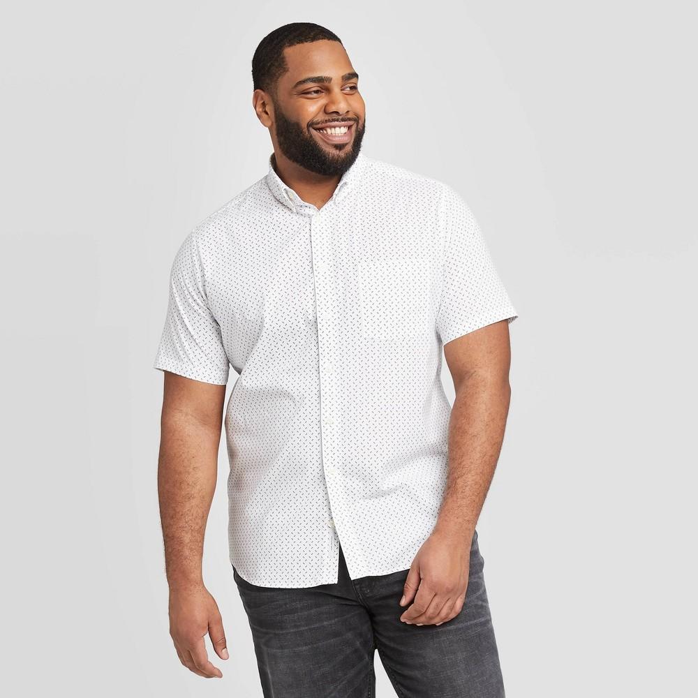 Men's Big & Tall Polka Dot Standard Fit Short Sleeve Button-Down Shirt - Goodfellow & Co True White 5XBT was $19.99 now $12.0 (40.0% off)