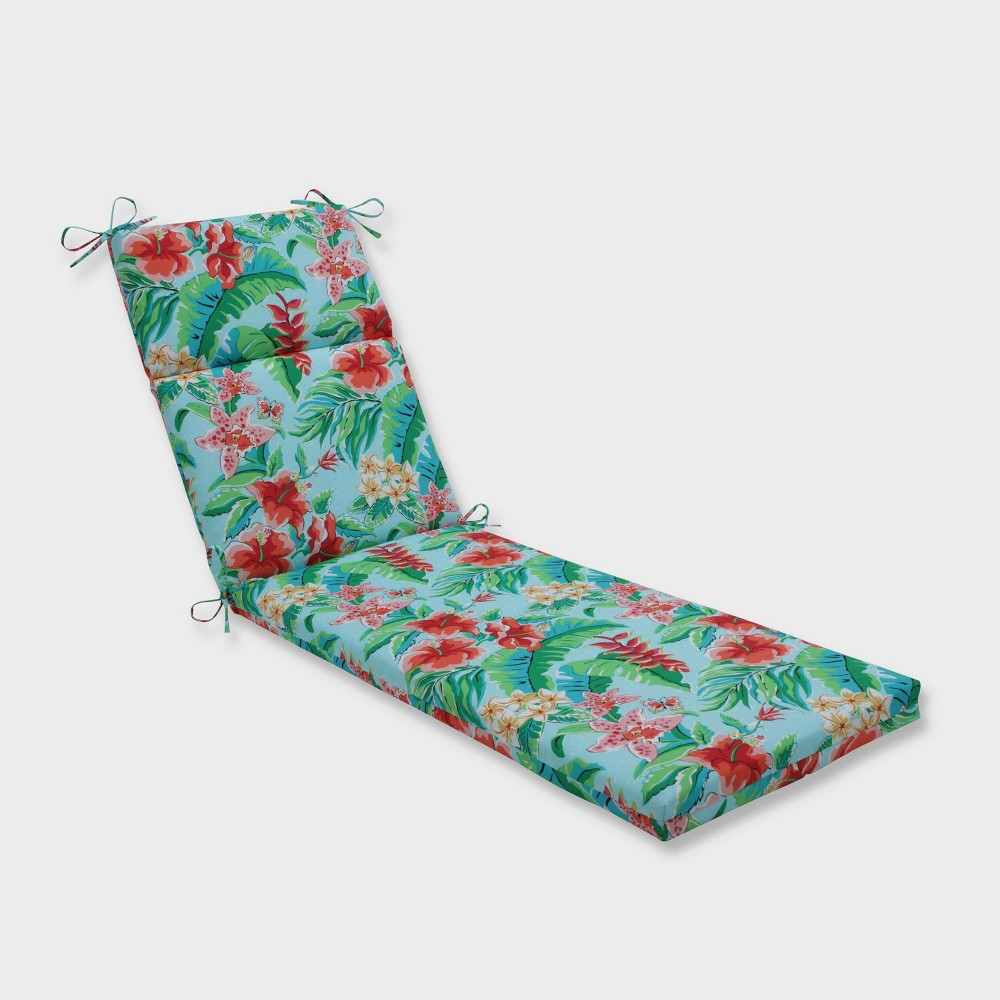 Tropical Paradise Chaise Lounge Outdoor Cushion Blue - Pillow Perfect