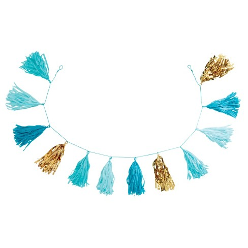 "82"" Tassel Garland Turquoise/Gold - Spritz™ - image 1 of 1"