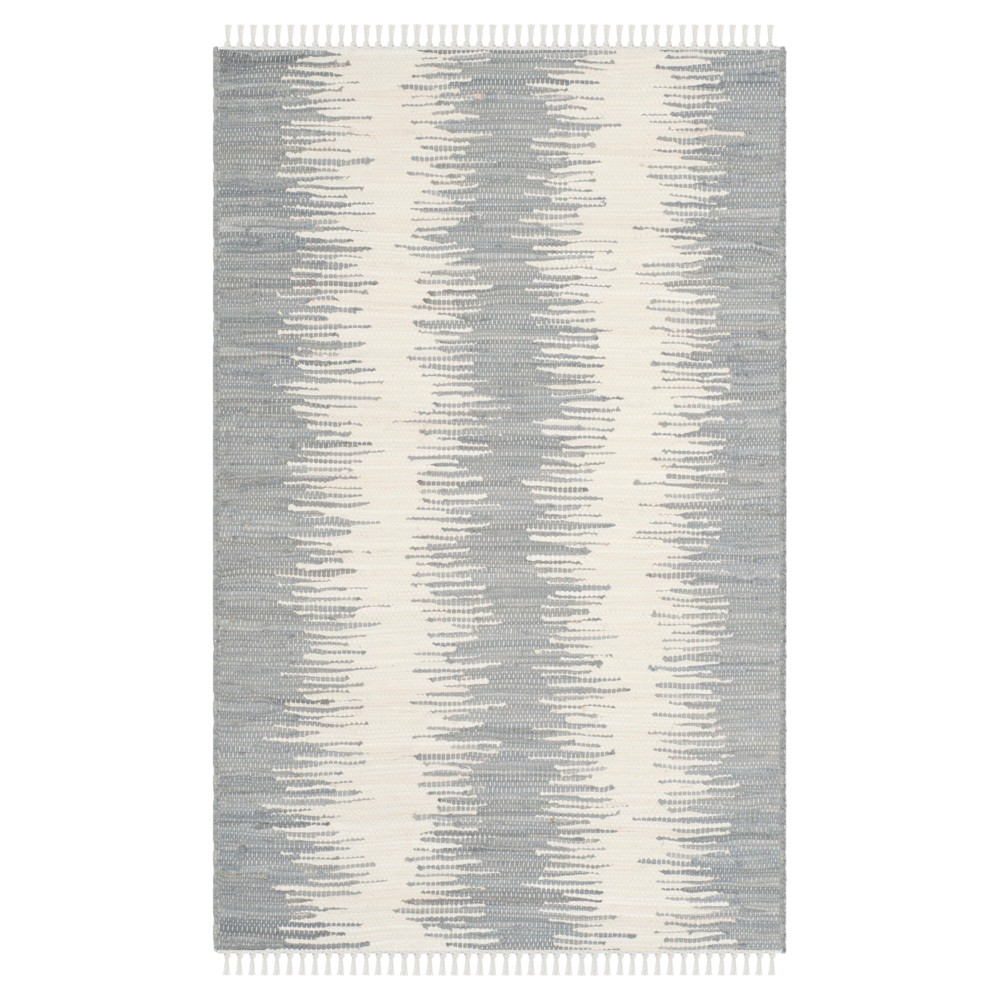 Flatweave Ikat Stripe Area Rug - Gray (4' X 6') - Safavieh