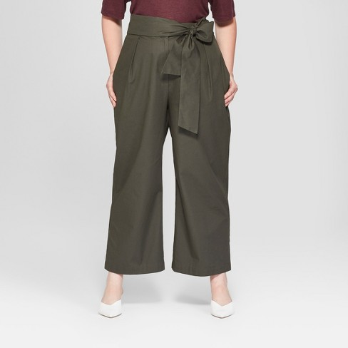 Women's Plus Size Wide Leg Tie Front Ankle Length Trouser - Prologue™ Olive - image 1 of 3