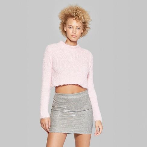 Women s Fuzzy Mock Neck Cropped Sweater - Wild Fable™   Target e3bdb5e69
