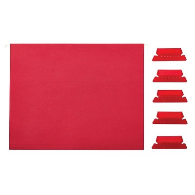 Staples Hanging File Folders 5-Tab Letter Size Red 25/Box (163535)