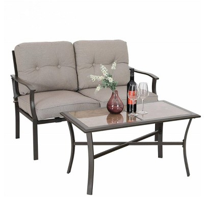 Metal Loveseat - Beige - Captiva Designs