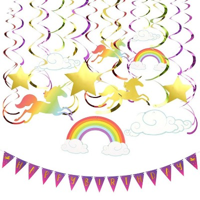 Blue Panda 30-Piece Rainbow Unicorn Party Decorations Supplies - Happy Birthday Banners, Hanging Swirl Décor