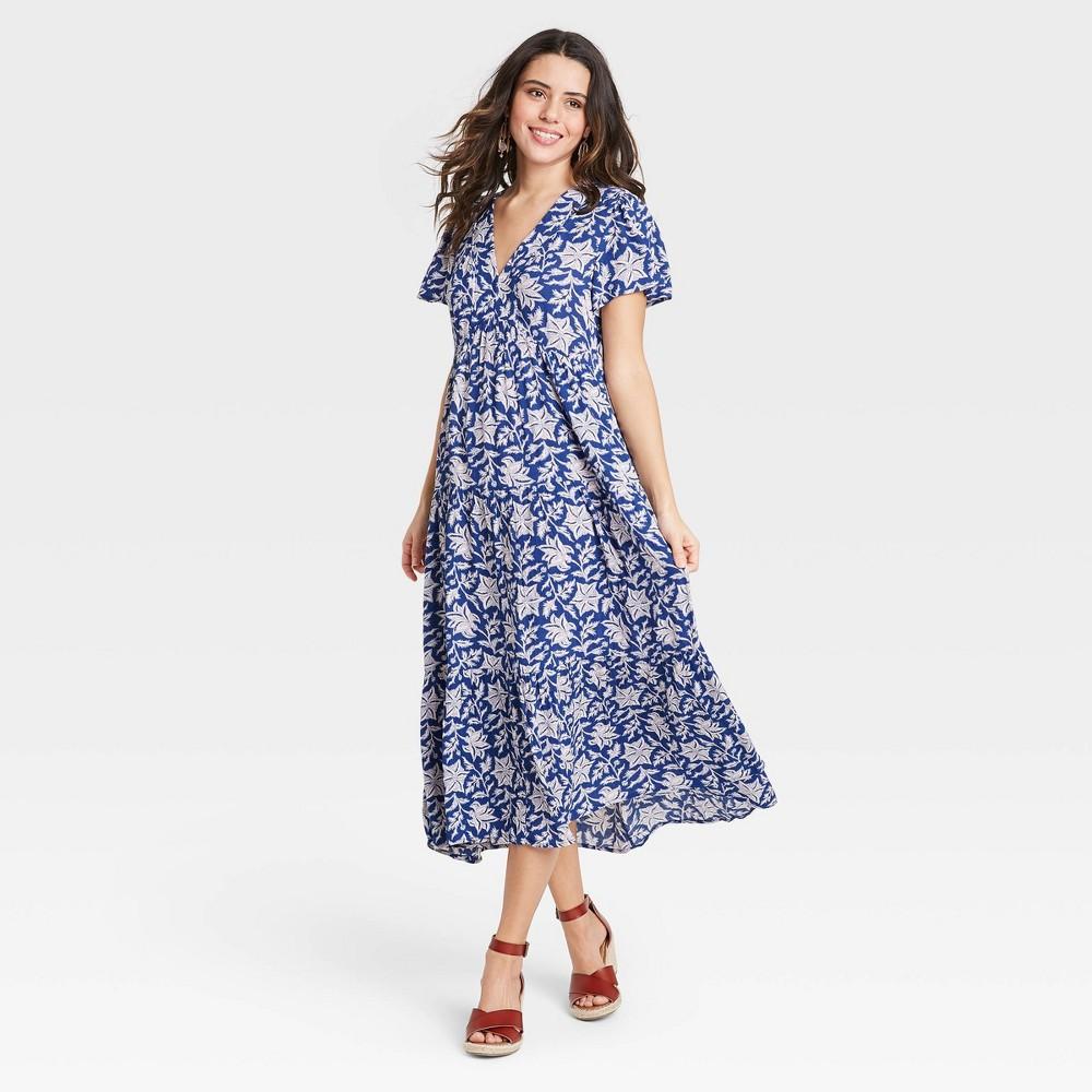 Women 39 S Floral Print Short Sleeve Dress Knox Rose 8482 Blue M