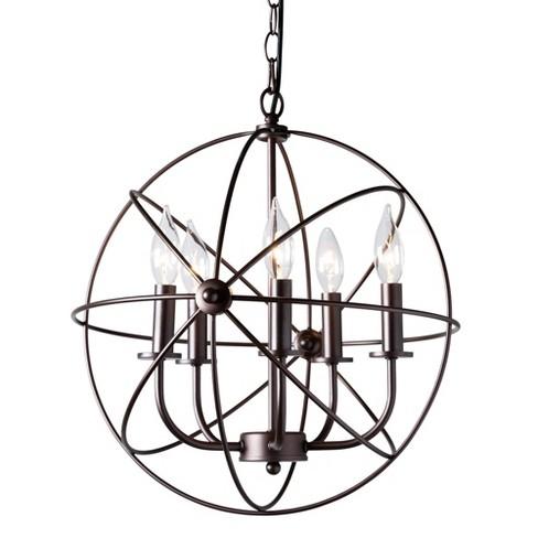 Nerea Metal Orb Cage Chandelier Bronze - Baxton Studio - image 1 of 3