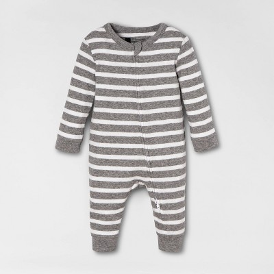 Baby Striped Union Suit - Gray 3-6M