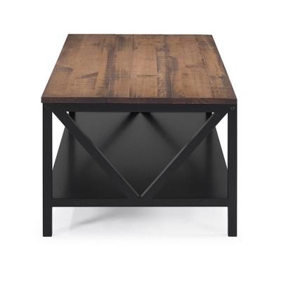 "48"" Two Tone Distressed Wood Farmhouse Coffee Table - Saracina Home : Target"