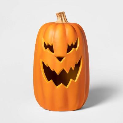 """16"""" Lit Sharp Teeth Pumpkin Decorative Halloween Prop Orange - Hyde & EEK! Boutique™"""