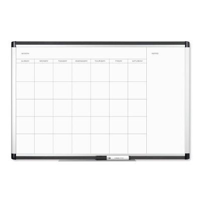 """U Brands 36""""x24"""" PINIT Magnetic Dry Erase Calendar Board Silver Aluminum Frame"""