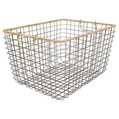 Large Rectangular Wire Basket With Seagrass Rim   Antique Pewter    Threshold™