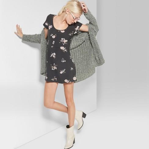 75bf8fa59b2 Women s Floral Print Short Sleeve Scoop Neck Knit Skater Dress - Wild Fable™  Black   Target
