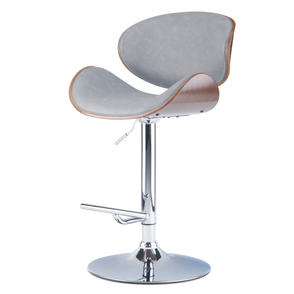 Avondale Bentwood Adjustable Height Gas Lift Bar Stool Stone Gray Faux Leather - Wyndenhall