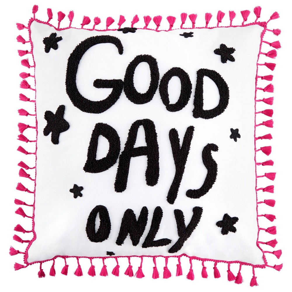 """Image of """"Betseyville 20"""""""" X 20"""""""" Good Days Only Throw Pillow Raven Black"""""""