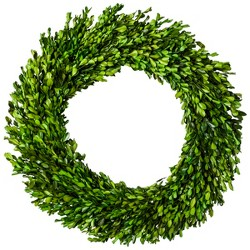 "21.2"" Dried Boxwood Leaves Wreath Green - Smith & Hawken™"