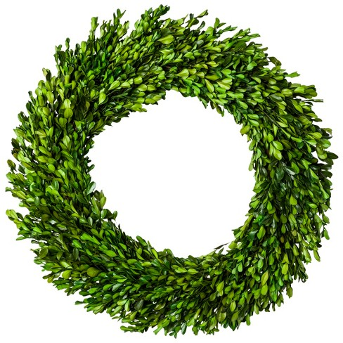 "21.2"" Dried Boxwood Leaves Wreath Green - Smith & Hawken™ - image 1 of 3"