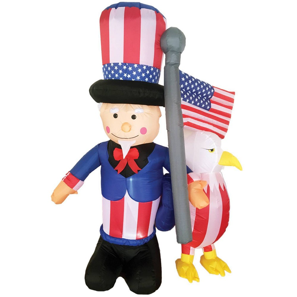 Image of 6' Uncle Sam with Eagle Inflatable Halloween Holiday Decorations