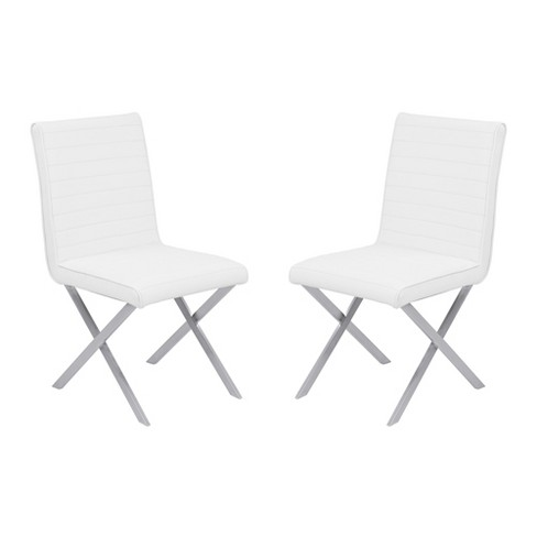 Set Of 2 Tempe Contemporary Dining Chair In White Faux Leather With Brushed Stainless Steel Finish Armen Living Target