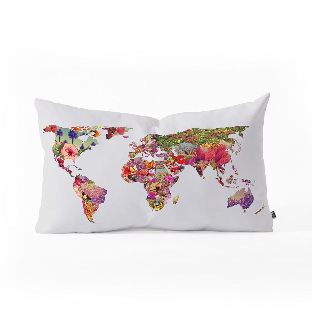 Bianca Its Your World Lumbar Throw Pillow White/Pink - Deny Designs