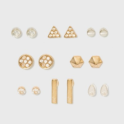 Ball, Stud and Stones Multi Earring Set 8pc - A New Day™ Gold/Silver