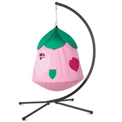 """HearthSong - Cozy Posy HugglePod HangOut Special with Flower Hanging Tent, LED Flower Lights, and Stand, 48""""H x 44""""W, Holds Up To 250"""