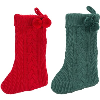 "Nutmeg Stocking (Set of 2) - Red/Green - 11"" X 19"" - Safavieh"