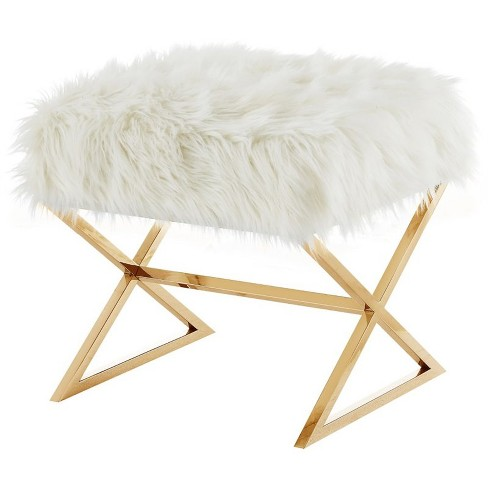 Terrific Colin White Faux Fur Ottoman Stainless Steel Gold X Legs In White Posh Living Bralicious Painted Fabric Chair Ideas Braliciousco