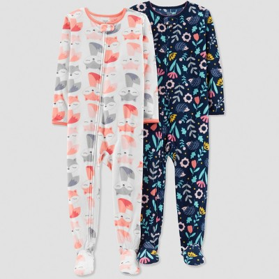 Baby Girls' Fox Pajama Set - Just One You® made by carter's White 12M