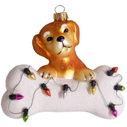 Christmas By Krebs 4 Brown And White Dog With Bone Figurine Christmas Ornament Target