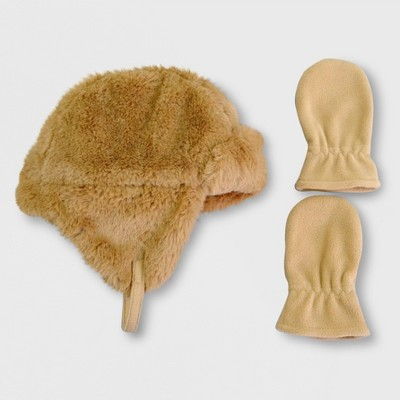Toddler Boys' Teddy Hat and Mitten Set - Cat & Jack™ Brown 12-24M