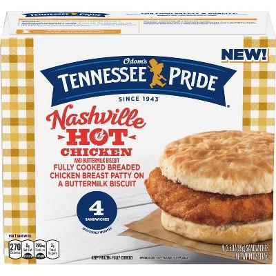 Odom's Tennessee Pride Nashville Hot Chicken & Buttermilk Biscuit Frozen Breakfast Sandwich - 14oz/4ct