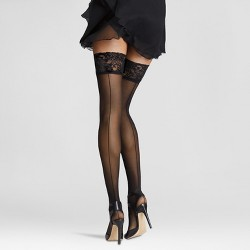 Lisa Hosiery One Size Lace Top 10 Denier Sheer Stockings in Black with Lycra