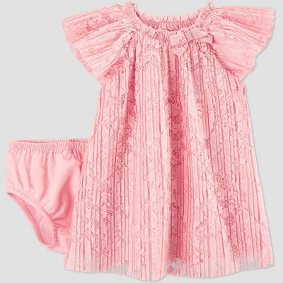 Baby Girls' Easter Dressy Pleated Lace Dress - Just One You® made by carter's Pink