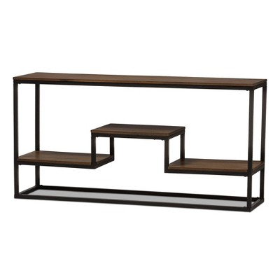 Doreen Rustic Industrial Style Antique Textured Finished Metal Distressed Wood Console Table - Black - Baxton Studio