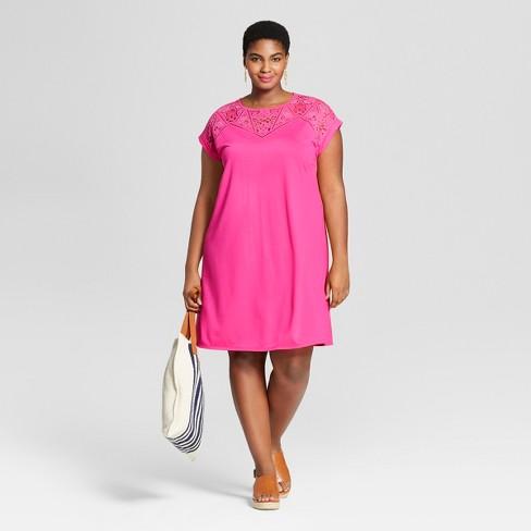 ae0ce92ab69 Women s Plus Size T-Shirt Dress - Ava   Viv™ Pink 3X   Target