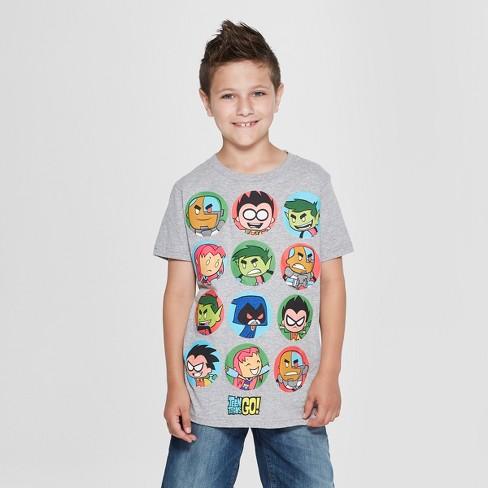 560412f8 Boys' Teen Titans Go Character Short Sleeve Graphic T-Shirt - Gray