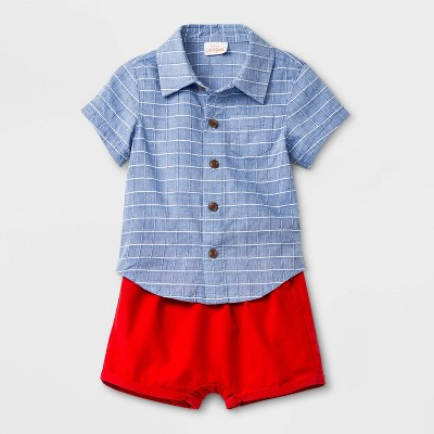 Baby Boys' Striped Top and Bottom Set - Cat & Jack™ Blue/Red 24M
