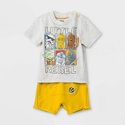 Baby Boys' 2pc Star Wars T-Shirt and Shorts Set - Gray/Yellow Newborn