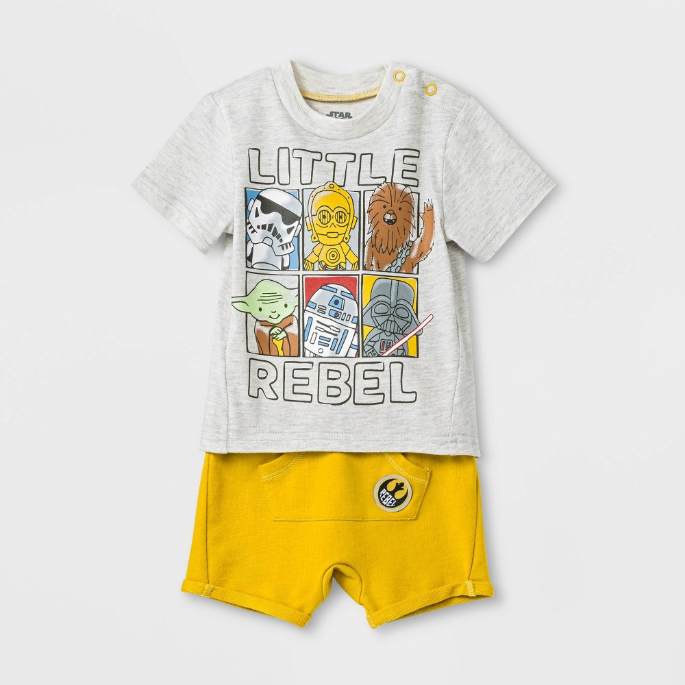Image of Baby Boys' 2pc Star Wars T-Shirt and Shorts Set - Gray/Yellow 0-3M, Boy's