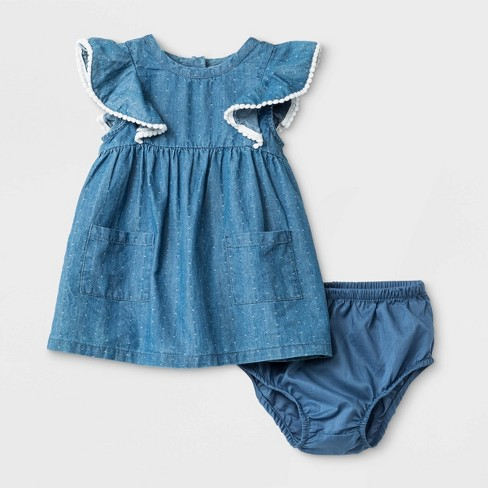Baby Girls' Denim Dress - Cat & Jack™ Blue - image 1 of 2