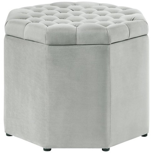 Brilliant Adrian Grey Velvet Storage Ottoman Upholstered Button Tufted In Gray Posh Living Machost Co Dining Chair Design Ideas Machostcouk
