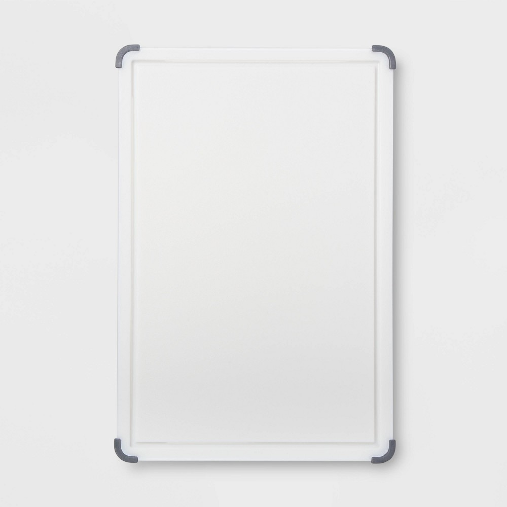 "Image of ""12""""x18"""" Nonslip Poly Cutting and Carving Board White - Made By Design"""