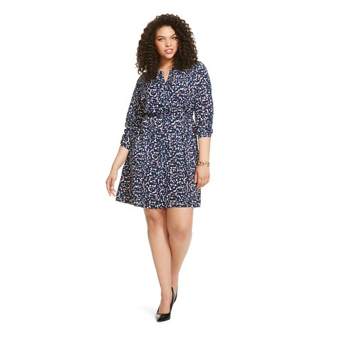 Womens Plus Size Shirt Dress Blue Confetti Print Ava Viv Target